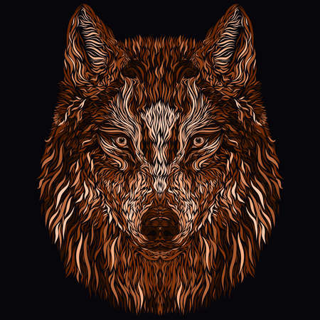 head of a wolf on a black background, a concentrated look and the image of a bird between the eyes