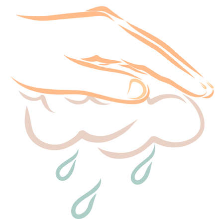 hand holding a cloud from which raindrops fall