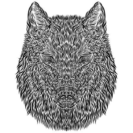 head of a mysterious wolf made of small smooth black lines Standard-Bild