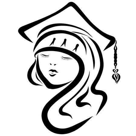 graduates in a hat with a tassel, graduate girl