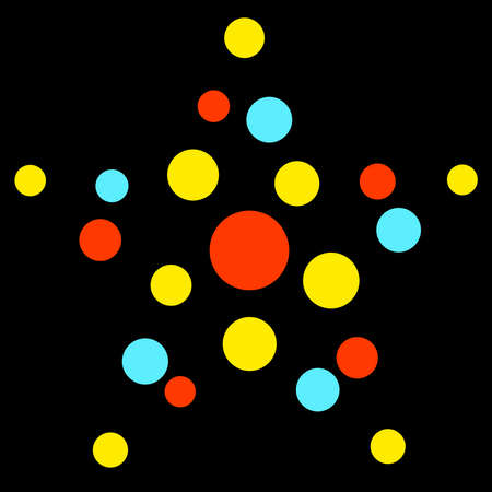 star made of colored circles on a black background