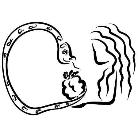 cunning serpent offers Eve the forbidden fruit