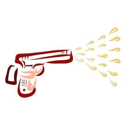 man shoots a pistol, spray of water or antiseptic Standard-Bild