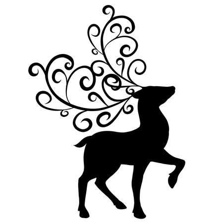black silhouette of a graceful deer with ornate antlers