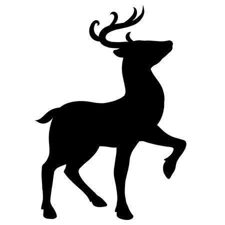 black silhouette of a graceful deer on a white background