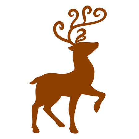 brown silhouette of a graceful deer with curled heart-shaped antlers
