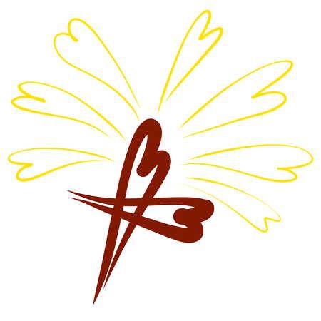 christian cross shining with hearts, pattern on white background Standard-Bild