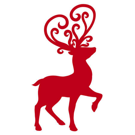 red silhouette of a deer with ornate heart-shaped antlers Standard-Bild