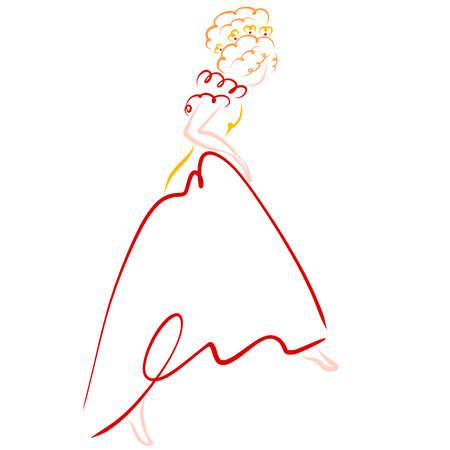 pariness in a lush dress, takes a step, barefoot Standard-Bild