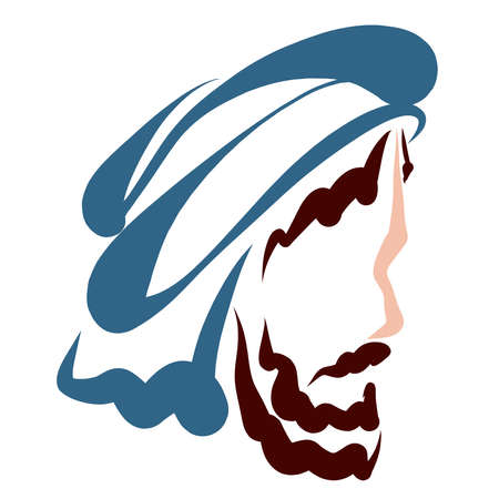 head of a bearded man with a scarf wrapped around his head, turban Standard-Bild
