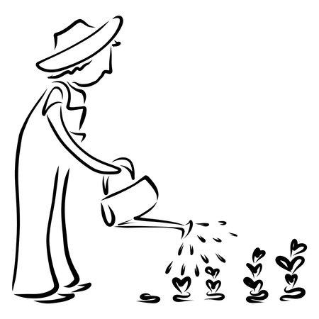 gardener watering heart-shaped plants from a watering can Standard-Bild