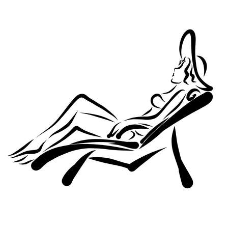 young woman resting in a swimsuit and a hat on a sun lounger, black outline