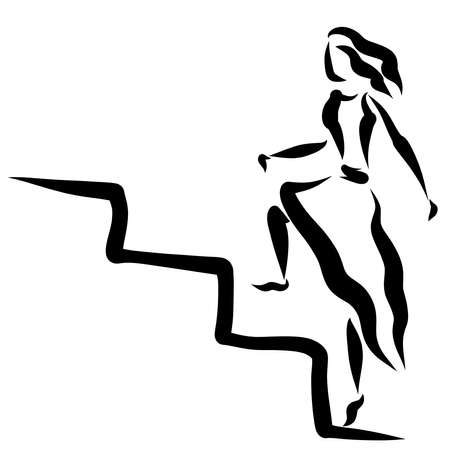 young woman climbs up the steps of the stairs, abstract black outline