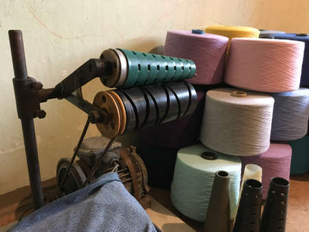 old electric winder for winding threads, bobbins of yarn thread for knitting