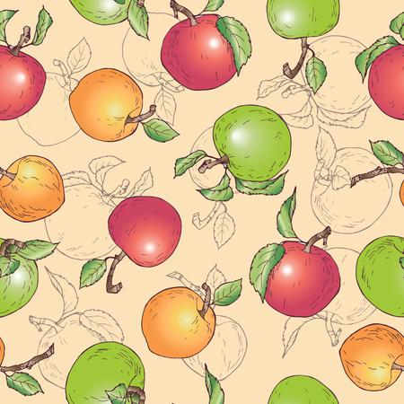 Vector illustracion fruit garden stuff fruity pattern