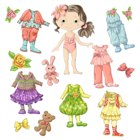 Dress a cute doll with sets of clothes with accessories and toys. Vector illustration.