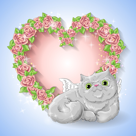 Festive card for a wedding or a birthday wreath of roses,  a cat-angel. Vector illustration. Illustration