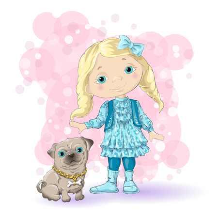 dog: Little girl with dog in pink background.