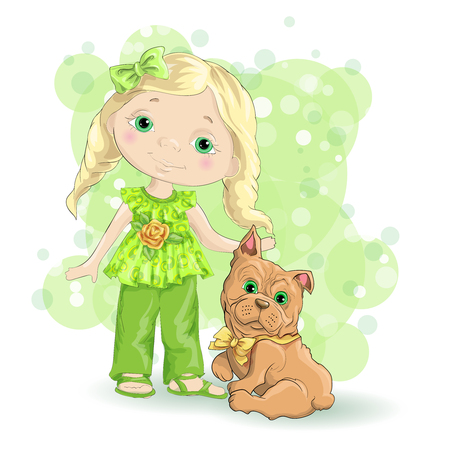 dog: Little girl with dog in green background. Illustration