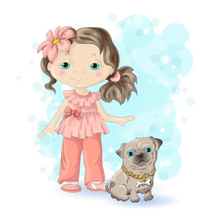 dog: Little girl with dog in blue background. Illustration