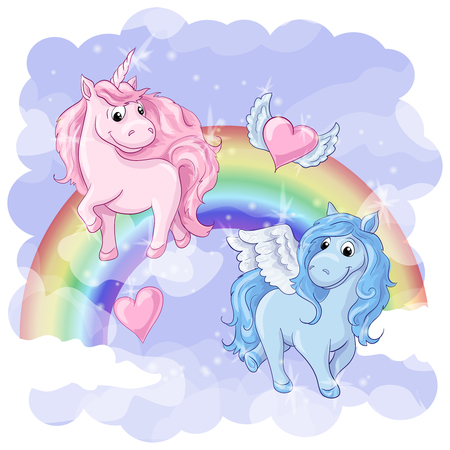 Fantastic postcard with Pegasus and Unicorn Illustration