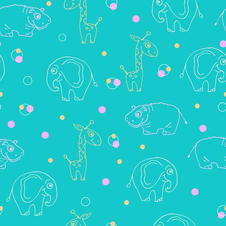 An endless pattern of animals. Giraffe, Hippopotamus, and elephant.