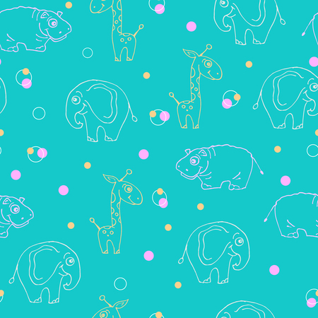 leon caricatura: An endless pattern of animals. Giraffe, Hippopotamus, and elephant.