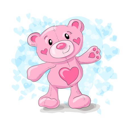 Cute teddy with hearts cartoon.