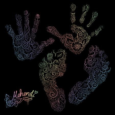 Imprint of children s palms and feet. Mehendi set. Illustration
