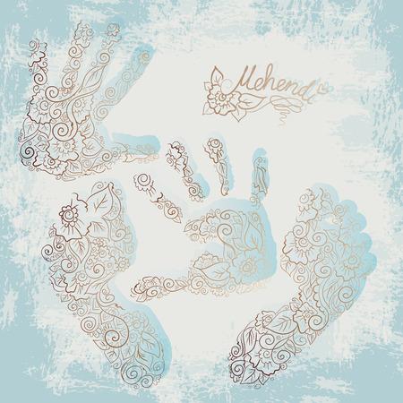children s feet: Imprint of children s palms and feet. Mehendi set. Illustration