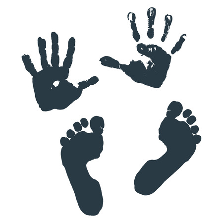Opdruk van de palmen en de voeten van kinderen.