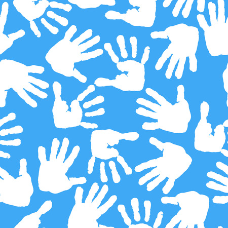 children s feet: Imprint of children s palms and feet. Seamless pattern. Illustration