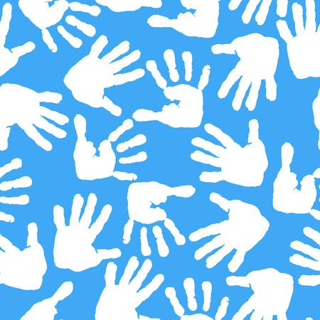 Imprint of children s palms and feet. Seamless pattern. Illustration