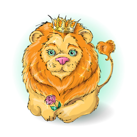 Cute cartoon lion king with a rose. Illustration