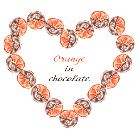 Oranges fruit in chocolate. Frame on a white background. Stock Photo