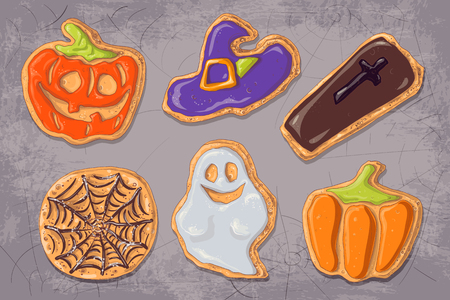 A set of gingerbread cookies on the theme of Halloween. Illustration