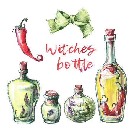 halloween background: Watercolor illustration with magic bottle of poison.