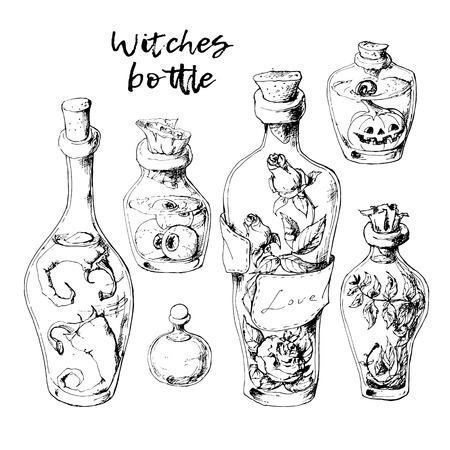 Isolated magic bottle jars set with liquid potions for transformations. Illustration