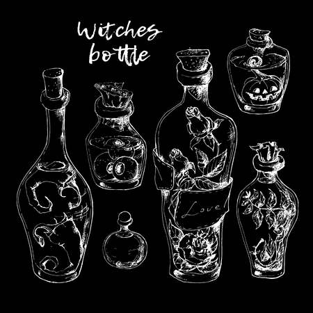 Isolated magic bottle jars set with liquid potions for transformations. Çizim