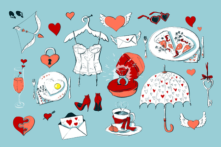 Set of cute icons for Valentine s day isolated on white background Illustration