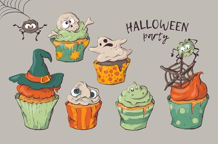 Variety of Halloween cupcakes isolated vector illustration
