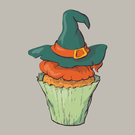 Variety of Halloween cupcakes isolated vector illustration