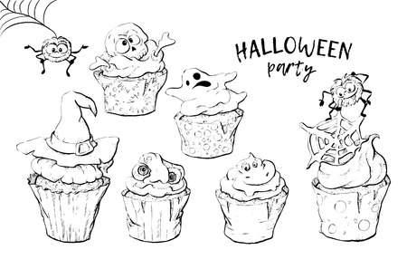 Variety of Halloween cupcakes isolated