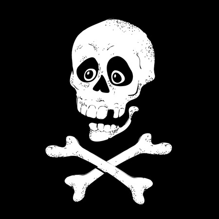 Skull with bones sign. Vector illustration.