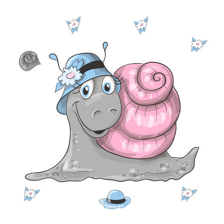 Vector illustration of realistic snail on the grass.