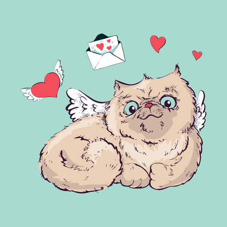 Illustration of a graphical angel cat.