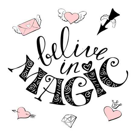 I believe in miracles typography surrounded with envelope, heart, diamond and arrow icons isolated in white background Illustration