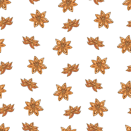 Seamless Vector Pattern with Clove and Star Anise on a Yellow Background. Illustration