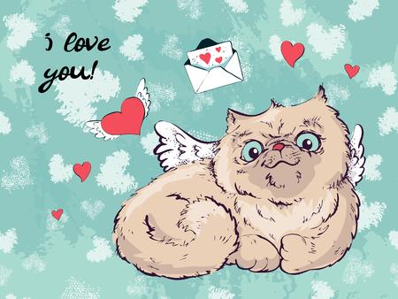 Biglietto di auguri di Natale gatto carino, il disegno di copertina per Capodanno e Natale, illustrazione di bambini per i libri scolastici e altro ancora. Oggetti separati, poster di disegno a mano romantico, stampa di gatti