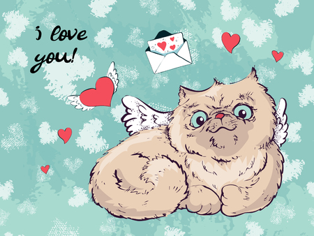 Cute cat Christmas greeting card,The cover design for new year and Christmas,Children illustration for School books and more. Separate Objects,Romantic hand drawing poster,cat print